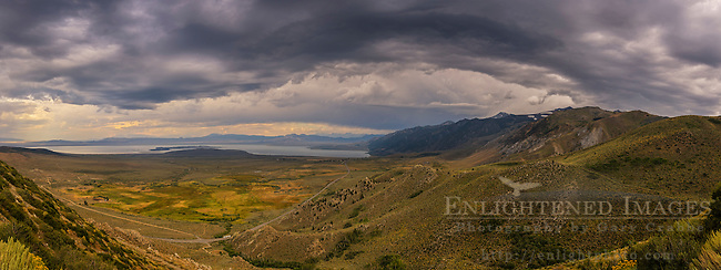 Panorama of storm clouds over Mono Lake and the Mono Basin from Conway Summit, Mono County, Eastern Sierra, California