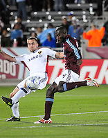 25 October 08: Rapids forward Omar Cummings tries to get a shot past Real Salt Lake defender Ian Joy (13) Real Salt Lake tied the Colroado Rapids at Dick's Sporting Goods Park in Commerce City, Colorado. The tie advanced Real Salt Lake to the playoffs.
