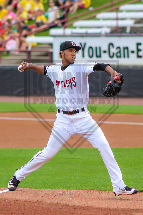 Wisconsin Timber Rattlers pitcher Nattino Diplan (33) during a Midwest League game against the Burlington Bees on July 10, 2017 at Fox Cities Stadium in Appleton, Wisconsin.  Burlington defeated Wisconsin 6-3. (Brad Krause/Krause Sports Photography)