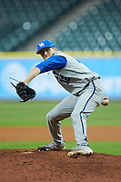 Kentucky Wildcats relief pitcher Alec Maley (12) in action against the Houston Cougars in game two of the 2018 Shriners Hospitals for Children College Classic at Minute Maid Park on March 2, 2018 in Houston, Texas.  The Wildcats defeated the Cougars 14-2 in 7 innings.   (Brian Westerholt/Four Seam Images)