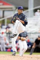 Everett AquaSox pitcher Mark Bordonaro #18 throws in relief during a game against the Spokane Indians at Everett Memorial Stadium on June 24, 2012 in Everett, WA.  Spokane defeated Everett 11-2.  (Ronnie Allen/Four Seam Images)