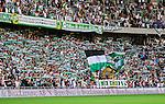 Stockholm 2014-05-24 Fotboll Superettan Hammarby IF - Varbergs BoIS FC  :  <br /> Hammarbys supportrar med flaggor och halsdukar<br /> (Foto: Kenta J&ouml;nsson) Nyckelord:  Superettan Tele2 Arena HIF Bajen Varberg BoIS supporter fans publik supporters