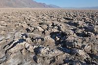 Devils Golf Course in Death Valley National Park, California. Salt formations, Salt beds.