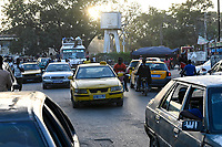 SENEGAL, Thies, downtown, traffic in rush hour / Stadtzentrum, Strassenverkehr