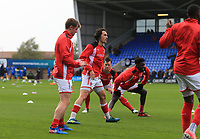 Markus Schwabl of Fleetwood Town warming up prior to  the Sky Bet League 1 match between Shrewsbury Town and Fleetwood Town at Greenhous Meadow, Shrewsbury, England on 21 October 2017. Photo by Leila Coker / PRiME Media Images.