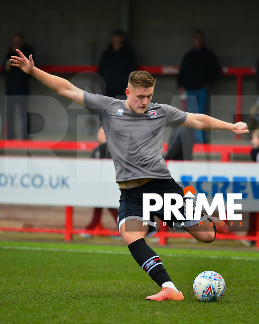 Mattie Pollock warms up during the Sky Bet League 2 match between Crawley Town and Grimsby Town at The People's Pension Stadium, Crawley, England on 25 January 2020. Photo by Lee Blease.