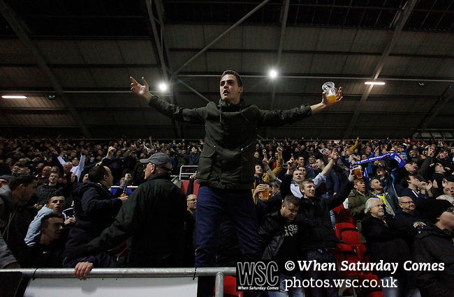 Rotherham 1 Sheffield Wednesday 2, 23/10/2015. New York Stadium, Championship. Second-half goals from Lucas Joao and Fernando Forestieri gave Sheffield Wednesday a derby victory at Rotherham. Goal celebration by Sheffield Wednesday fans. Photo by Paul Thompson.