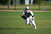 Farmingdale State Rams right fielder Brandon Ernest (6) makes a diving catch during the second game of a doubleheader against the FDU-Florham Devils on March 15, 2017 at Lake Myrtle Park in Auburndale, Florida.  FDU-Florham defeated Farmingdale 8-4.  (Mike Janes/Four Seam Images)