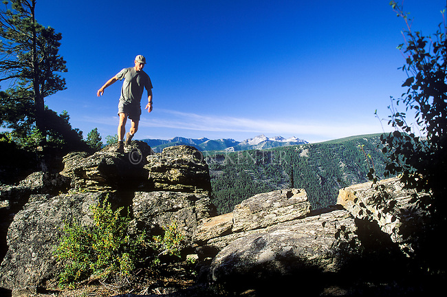 Rock hopping at an overlook in the Bitterroot Mountains in western Montana