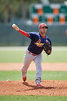 GCL Cardinals relief pitcher Chris Rivera (15) delivers a pitch during a game against the GCL Marlins on August 4, 2018 at Roger Dean Chevrolet Stadium in Jupiter, Florida.  GCL Marlins defeated GCL Cardinals 6-3.  (Mike Janes/Four Seam Images)
