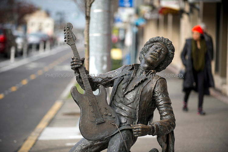 2/27/2014&mdash;Seattle, WA<br /> <br /> Jimi Hendrix statue on Broadway in Seattle&rsquo;s Capitol Hill neighborhood.<br /> <br /> Photograph by Stuart Isett<br /> &copy;2014 Stuart Isett. All rights reserved.