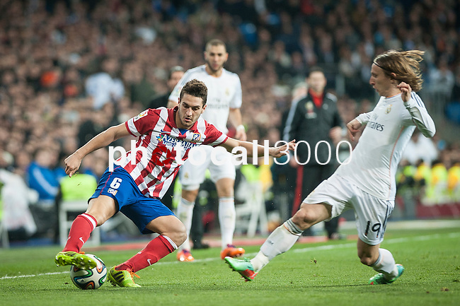 Santiago Bernabeu. Madrid. Spain. 05.02.2014. Football match between Real Madrid and Atletico de Madrid. Cebolla Rodriguez. Luca Modric