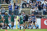 Matt Banahan of Bath Rugby celebrates scoring his third try of the match. Aviva Premiership match, between Bath Rugby and London Irish on May 5, 2018 at the Recreation Ground in Bath, England. Photo by: Patrick Khachfe / Onside Images