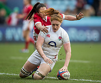 England Women's Harriet Millar-Mills scores her sides fifth try<br /> <br /> Photographer Bob Bradford/CameraSport<br /> <br /> 2020 Women's Six Nations Championship - England v Wales - Saturday 7th March 2020 - The Stoop - London<br /> <br /> World Copyright © 2020 CameraSport. All rights reserved. 43 Linden Ave. Countesthorpe. Leicester. England. LE8 5PG - Tel: +44 (0) 116 277 4147 - admin@camerasport.com - www.camerasport.com