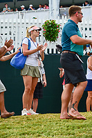 Jon Rahm's (ESP) girlfriend, Kelley Cahill applauds his approach shot from the gallery on 16 during Sunday's final round of the PGA Championship at the Quail Hollow Club in Charlotte, North Carolina. 8/13/2017.<br /> Picture: Golffile | Ken Murray<br /> <br /> <br /> All photo usage must carry mandatory copyright credit (&copy; Golffile | Ken Murray)