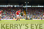 Paul Geaney Kerry  in action against Kevin Crowley Cork in the Munster Senior Football Final at Fitzgerald Stadium on Sunday.