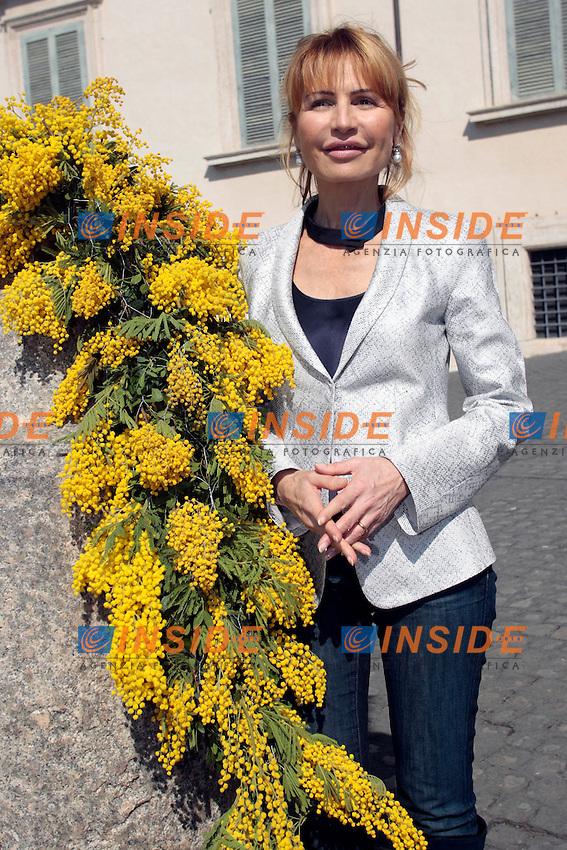 Lilly Gruber.Roma 08/03/2012 Nel giorno della festa della donna il quirinale viene addobbato con della mimosa..Photo Samantha Zucchi Insidefoto