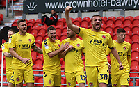 Fleetwood Town's James Wallace celebrates scoring his side's second goal<br /> <br /> Photographer David Shipman/CameraSport<br /> <br /> The EFL Sky Bet League One - Doncaster Rovers v Fleetwood Town - Saturday 6th October 2018 - Keepmoat Stadium - Doncaster<br /> <br /> World Copyright © 2018 CameraSport. All rights reserved. 43 Linden Ave. Countesthorpe. Leicester. England. LE8 5PG - Tel: +44 (0) 116 277 4147 - admin@camerasport.com - www.camerasport.com