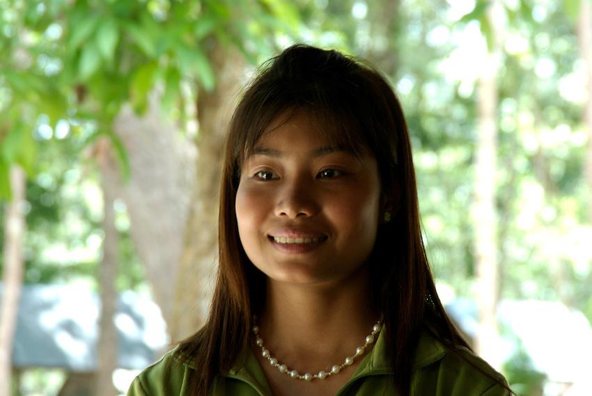 Happy and smiling pretty Khmer Girl at Phnom Kulen, Cambodia