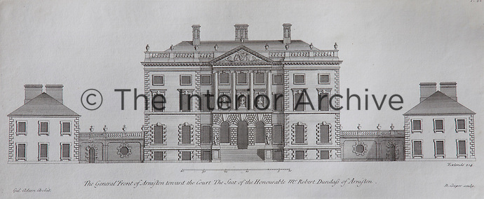 Arniston illustrated in Vitruvius Scoticus (1812), showing the house before the addition of a Victorian porch. The volume, featuring many of Adam's works is in the library at Arniston