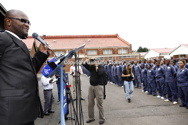 PRETORIA - 24 January 2011 - South African police minister Nathi Mthethwa addresses new recruits on their first day at he South African Police Services Training College in Pretoria. Picture: Giordano Stolley/Allied Picture Press/APP