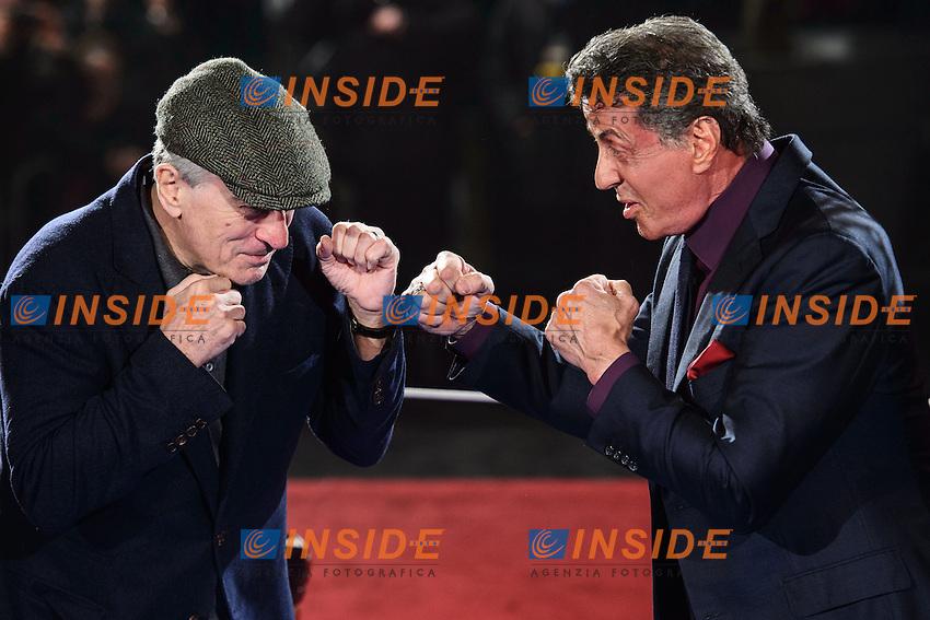 Robert De Niro, Sylvester Stallone <br /> Roma 07-01-2014 Cinema The Space Moderno <br /> Grudge Match - Il Grande Match Premiere<br /> Foto Andrea Staccioli / Insidefoto