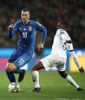 Football: Euro 2020 Group J qualifying football match Italy vs Finland at the Friuli Stadium in Udine on march  23, 2019<br /> Italy's Federico Bernardeschi (l) in action with Finland's Glen Kamara (r) during the Euro 2020 qualifying football match between Italy and Finland at the Friuli Stadium in Udine, on march 23, 019<br /> UPDATE IMAGES PRESS/Isabella Bonotto