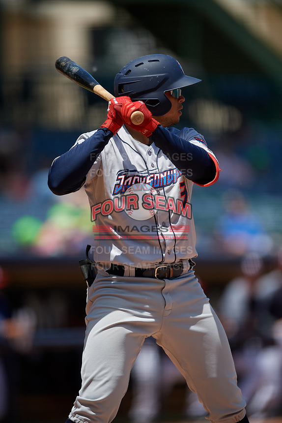 Jacksonville Jumbo Shrimp Joe Dunand (3) at bat during a Southern League game against the Mississippi Braves on May 5, 2019 at Trustmark Park in Pearl, Mississippi.  Mississippi defeated Jacksonville 1-0 in ten innings.  (Mike Janes/Four Seam Images)