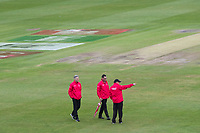 The umpires conduct a pitch inspection during Pakistan vs Sri Lanka, ICC World Cup Cricket at the Bristol County Ground on 7th June 2019