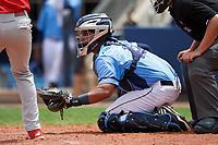 Charlotte Stone Crabs catcher David Rodriguez (10) awaits the pitch during a game against the Palm Beach Cardinals on April 12, 2017 at Charlotte Sports Park in Port Charlotte, Florida.  Palm Beach defeated Charlotte 8-7.  (Mike Janes/Four Seam Images)