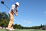 Rickie Fowler tees off on the 2nd tee at the 5th Annual Notah Begay III Foundation Challenge at Atunyote Golf Club in Vernon, New York on August 29, 2012