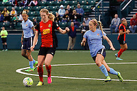 Rochester, NY - Saturday May 21, 2016: Western New York Flash midfielder Samantha Mewis (5) is chased by Sky Blue FC midfielder Nikki Stanton (7). The Western New York Flash defeated Sky Blue FC 5-2 during a regular season National Women's Soccer League (NWSL) match at Sahlen's Stadium.