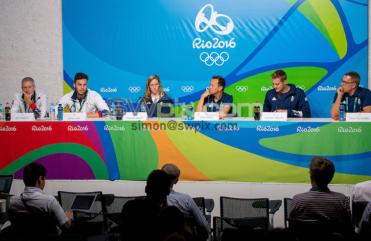Picture by Alex Whitehead/SWpix.com - 03/08/2016 - 2016 Rio Olympic Games - Main Press Centre, Rio de Janeiro, Brazil - (l-r) Head Coach Bill Furniss, James Guy, Hannah Miley, Team Leader Chris Spice, Andrew Willis and Press Officer Dave Richards during Team GB's Swimming Press Conference.