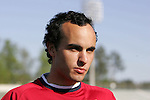 Landon Donovan talks with the press on Monday, April 10th, 2006 at SAS Stadium in Cary, North Carolina. The United States Men's National Team practiced the day before playing an international friendly against Jamaica.