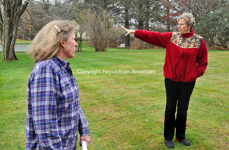 BETHLEHEM, CT, 17 NOVEMBER 2011-111711JS01-Nancy H. Pratt, right and her sister Mary Hawvermale, left, show off the 52.2 acres of family property they will preserve as conservation easement area around Eastover Farm on Guilds Hollow Road in Bethlehem. <br />  Jim Shannon Republican-American