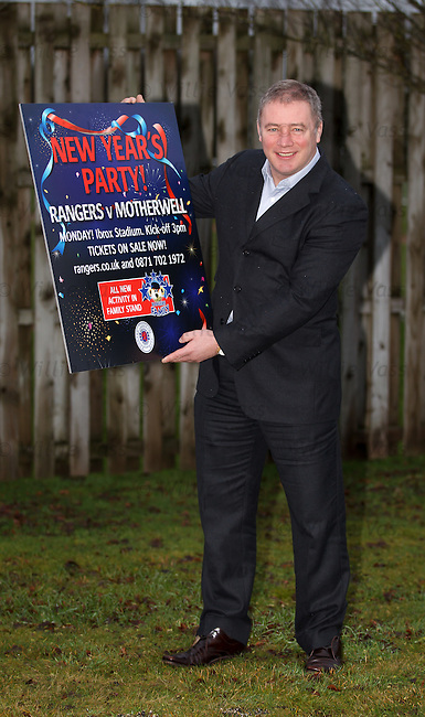 Rangers manager Ally McCoist at Murray Park this morning to promote a New Year's Party at Ibrox for the match v Motherwell
