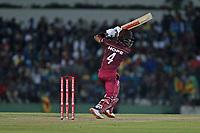 February 26th 2020, the Mahinda Rajapaksha International Stadium, Hambantota, Sri Lanka; One Day International cricket, Sri Lanka versus West Indies; Shai Hope drives the ball into the covers