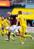21 AUGUST 2010:  Colorado Rapids forward Conor Casey (9) and Chad Marshall of the Columbus Crew (14) during MLS soccer game between Colorado Rapids vs Columbus Crew at Crew Stadium in Columbus, Ohio on August 21, 2010.