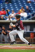 Wisconsin Timber Rattlers outfielder Mitch Meyer (19) at bat during the first game of a doubleheader against the Quad Cities River Bandits on August 19, 2015 at Modern Woodmen Park in Davenport, Iowa.  Quad Cities defeated Wisconsin 3-2.  (Mike Janes/Four Seam Images)