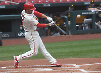 25th July 2020, St Louis, MO, USA;  St. Louis Cardinals shortstop Paul DeJong (12) at bat during a Major League Baseball game between the Pittsburgh Pirates and the St. Louis Cardinals