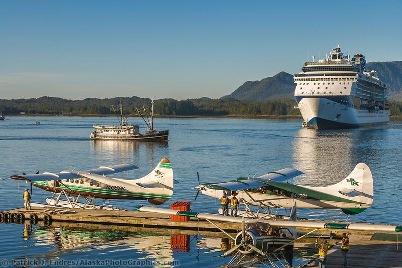 Tourists board float planes for flightseeing near the Ketchikan area, southeast, Alaska.