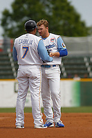 Myrtle Beach Pelicans second baseman Ian Happ (5) between innings during a game against the Frederick Keys at Ticketreturn.com Field at Pelicans Ballpark on April 10, 2016 in Myrtle Beach, South Carolina. Myrtle Beach defeated Frederick 7-5. (Robert Gurganus/Four Seam Images)