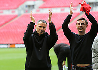 Ryan Giggs and Gary Neville celebrate Salford City winning promotion to the Football League during AFC Fylde vs Salford City, Vanarama National League Football Promotion Final at Wembley Stadium on 11th May 2019