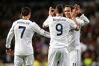 ATENCAO EDITOR IMAGEM EMBARGADA PARA VEICULOS INTERNACIONAIS - MADRI, ESPANHA, 15 JANEIRO 2013 - COPA DO REI - REAL MADRID X VALENCIA - Karim Benzema (n.9) jogador do Real Madrid comemora seu gol durante partida pelo jogo de ida das quartas-de-finais da Copa do Rei no Estadio Santiago Bernabeu em Madri capital da Espanha, nesta terca-feira, 15. (FOTO: CESAR CEBOLLA / ALFAQUI / BRAZIL PHOTO PRESS)..