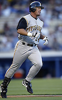 Brian Giles of the Pittsburgh Pirates during a 2002 MLB season game against the Los Angeles Dodgers at Dodger Stadium, in Los Angeles, California. (Larry Goren/Four Seam Images)
