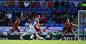 9th September 2017, Madejski Stadium, Reading, England; EFL Championship football, Reading versus Bristol City; Sone Aluko of Reading takes a shot at goal