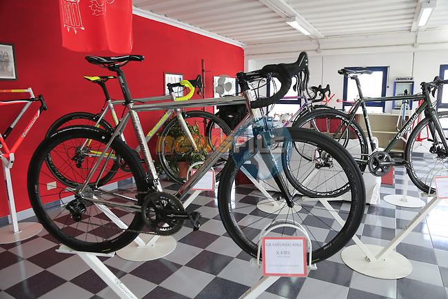 The stainless steel XFire in the showroom at the Tommasini factory based in Grosseto, Tuscany, Italy 6th March 2017.<br /> Picture: Eoin Clarke | Newsfile<br /> <br /> <br /> All photos usage must carry mandatory copyright credit (© Newsfile | Eoin Clarke)