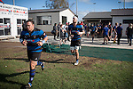 Robert Katu leads the Onewhero side out of the changing sheds for the Counties Manukau Premier Club Rugby game between Karaka and Onewhero, played at Karaka, on Saturday April 26 2014. Karaka won the game 26 - 23 after trailing 7 - 8 at halftime  Photo by Richard Spranger