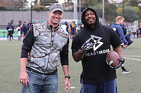 SYDNEY, AUSTRALIA - August 22, 2016:  Cal Bears Football team Australia trip.  Marshawn Lynch and Mike Pawlawski