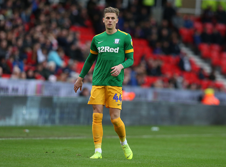 Preston North End's Brad Potts<br /> <br /> Photographer Stephen White/CameraSport<br /> <br /> The EFL Sky Bet Championship - Stoke City v Preston North End - Saturday 26th January 2019 - bet365 Stadium - Stoke-on-Trent<br /> <br /> World Copyright © 2019 CameraSport. All rights reserved. 43 Linden Ave. Countesthorpe. Leicester. England. LE8 5PG - Tel: +44 (0) 116 277 4147 - admin@camerasport.com - www.camerasport.com